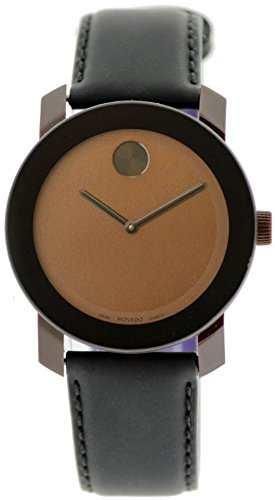 Movado Swiss Bold Black Coated Leather Strap Unisex Watch Brown Case 42mm 3600090