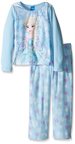 Disney Girls' Little Girls' Frozen Elsa Fleece 2-Piece Pajama Set, Blue, 6