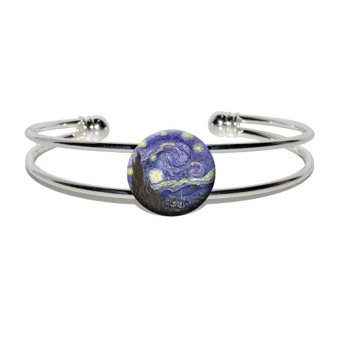[Starry Night by Vincent Van Gogh - Novelty Silver Plated Metal Cuff Bangle Bracelet] (Vincent Van Gogh Starry Night Costume)