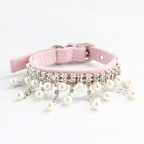 CARFILNL Rhinestone Chain Hanging Beads Pet Dog Collar Princess Collars for Dogs Cat Puppy Leash Accessories Pink S