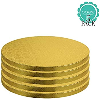 Oasis Supply OA GDSCB 9R-8 Scalloped Cake Circle Gold 9-Inch 8-Pack