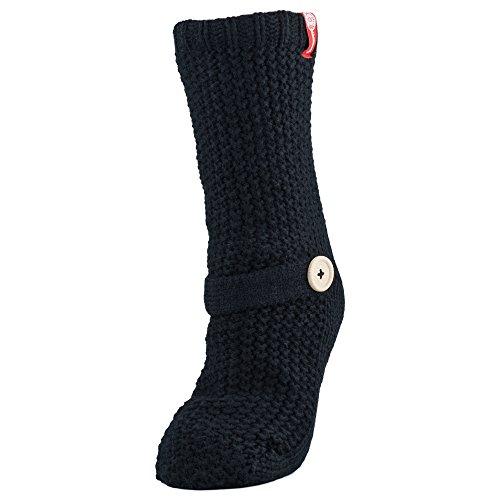 Womens Sweater Design Super Thick Comfy Non-Skid Slipper Socks (Black)