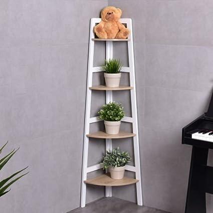 4 Tier Wood Corner Bookcase Ladder Shelf Wall Unit Bookshelf Display Stand Rack