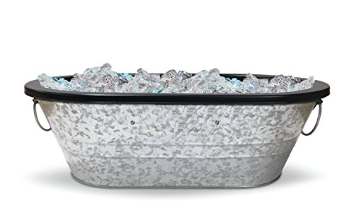 Galvanized Metal Beverage Tub with Liner Oval with Handles 21.5″ x 14 x 8″