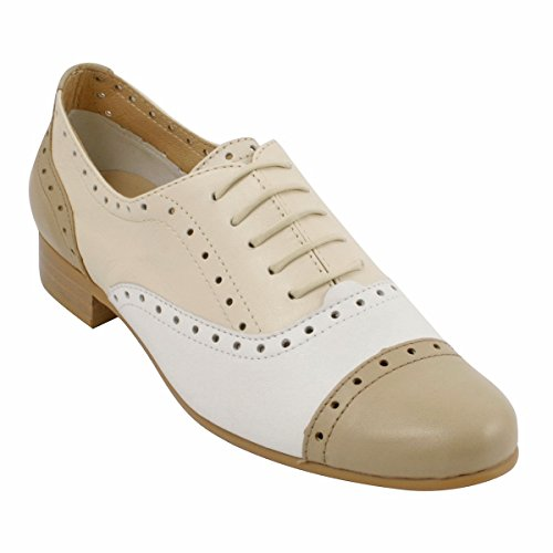 White Exclusif Lace Paris up Women's Flats XpXqr
