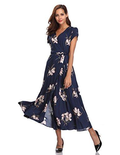 Floating Time Women's Floral Print Short Sleeve Maxi Wrap Dress(S, CF42083-2) (Wrap Tie Dress)