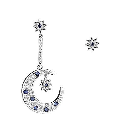 Weiwei Men's Earrings Men's Ear Nails Earrings Asymmetrical Star Moon Large-5.12.4cm, Short bi-0.80.8cm by Weiwei