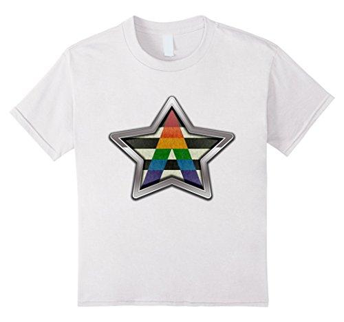 Kids LGBT Ally Pride Star 8 White
