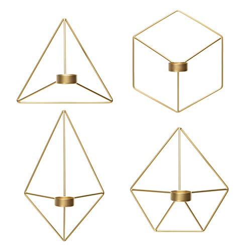 Kimisty Set of 4 Geometric Hanging Tea Light Candle Holder, Gold Wall Decor Air Plant Holder, 3D Modern Nordic Decoration, Wire Metal Diamond Wall Art