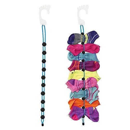 HTIANC 2 Pack Sock Laundry Clips & Locks Sock Storage Hangers Hold 10 Pairs Sock Drying for Laundry Organizer (Blue&Black)