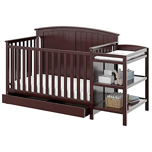 Storkcraft Steveston 4-in-1 Convertible Crib and Changer with Drawer, Espresso Easily Converts to Toddler Bed, Day Bed or Full Bed, 3 Position Adjustable Height Mattress ()