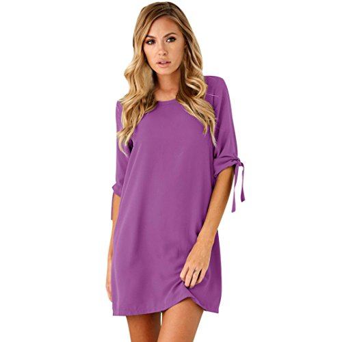 Ankola Women Fall Sexy Solid Color Half Bowknot Sleeves Cocktail Mini Dress Casual Short Dress (M, Purple)