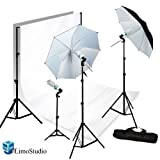 LimoStudio Photography Photo Video Studio 40'' Umbrella Light Lighting Kit with 10x10 Foot. White Muslin Backdrop Background Support System, AGG1727