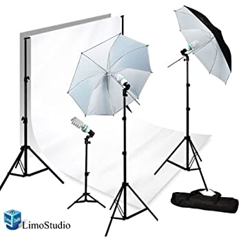 "LimoStudio Photography Photo Video Studio 40"" Umbrella Light Lighting Kit with 10x10 Foot. White Muslin Backdrop Background Support System, AGG1727"