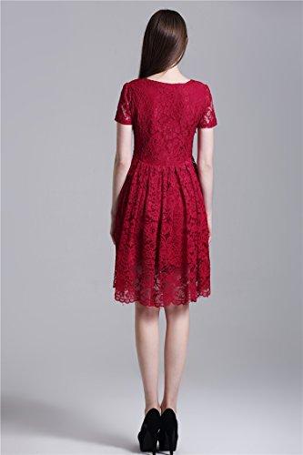 Minetom Las Mujeres Verano Manga Dress Vestido Corto Cuello Redondo Hasta La Rodilla Encaje Diseño Retro Estilo Nobleza Damas Vino Rojo