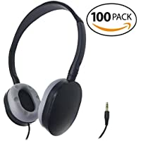 SmithOutlet 100 Pack Rubber Earpad Stereo Headphones in Bulk