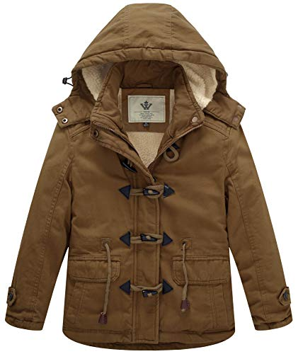 WenVen Girl's Thicken Jacket Cotton Coat with Removable Hood, Brown, 8Y Cotton Thicken Long Sleeve