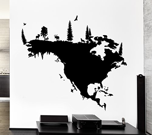 Wall Stickers Vinyl Decal North America Map With Forest And Animals USA Canada Mexico (z1322i)
