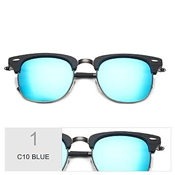 TIANLIANG04 Gafas De Sol En Metal Mano Haciendo Gafas Polarizadas Unisex Back,C10 Azul