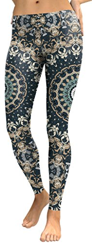 Mad Ink Sexy Tight Pants Mandala Tattoo Digital Full 3D Print Elasticity Leggings Pencil Pants for Women Girls (Oriental Pattern Peacock)