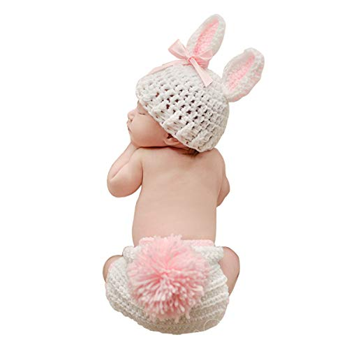 ISOCUTE Newborn Photography Props Baby Girl Easter Bunny Crochet Knitted Rabbit Set (Crochet Newborn Bunny Hat And Diaper Cover)