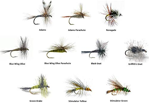 - Feeder Creek Fly Fishing Assortment - 60 Flies in 10 Trout Crushing Patterns of Dry Flies (Adams, Blue Wing Olive, Stimulator, Drake and More) Sizes 14-18