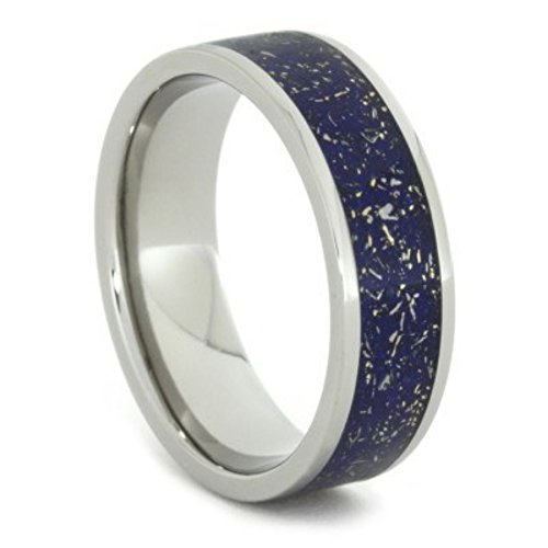 Meteorite Shavings Blue, Green, Purple Inlay 7mm Comfort-Fit Titanium Ring, Size 4 by The Men's Jewelry Store (Unisex Jewelry)