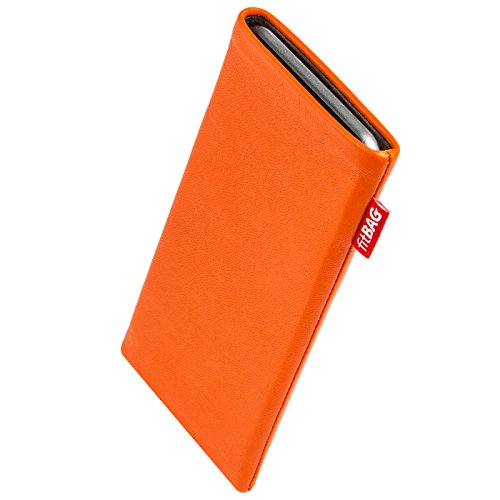 fitBAG Beat Orange Custom Tailored Sleeve for Apple iPhone Xr | Made in Germany | Fine Nappa Leather Pouch case Cover with Microfibre Lining for Display ()