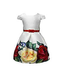 Shiny Toddler Girls' A Line Floral Printing Flower Girl Playwear Casual Dress