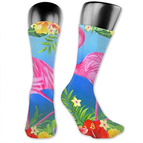 Unisex Performance Cushion Crew Socks Tube Socks Spring Flamingo Art New Middle High Socks Sport Gym Socks ()