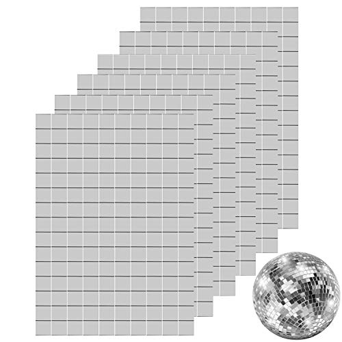 Ruisita 900 Pieces Self-Adhesive Mini Square Glass Mirrors Mosaic Tiles Mirror Mosaic Stickers for DIY Craft Decoration, 1 x 1 cm -