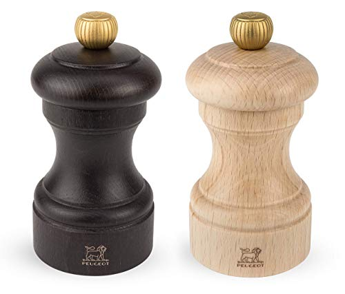 Chocolate Wood Pepper Mill - Peugeot 2/22594 Bistro 4 Inch Chocolate Pepper Mill and 4 Inch Natural Salt Mill Set