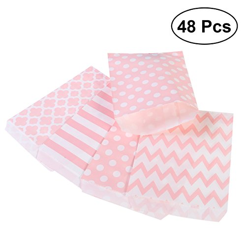 NUOLUX Treat Sacks,48pcs Wedding Candy Bar Bags Party Gift Bags Paper Bag (Pink) (Sacks Treat)