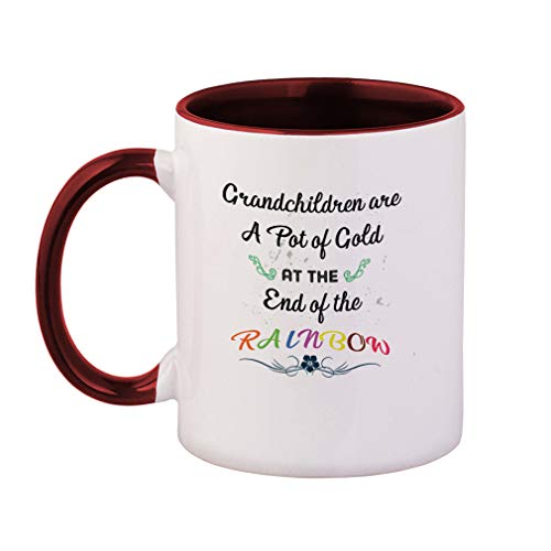 Colored Handle Coffee Mug Grandchildren Are A Pot Of Gold At The End Of The Rainbow. Ceramic Tea Cup, 11 OZ - Maroon Inner/Handle