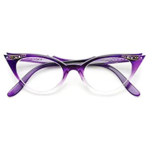 zeroUV - Vintage Cateyes 80s Inspired Fashion Clear Lens Cat Eye Glasses with Rhinestones (Purple Fade)