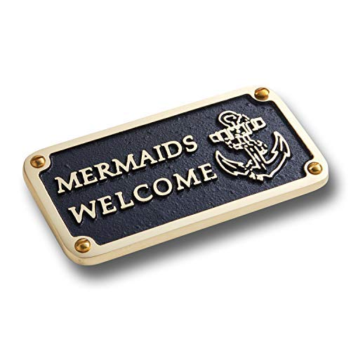 The Metal Foundry Nautical Bathroom Décor Accessories Brass Plaque. Beach Theme Funny Wall Decoration Mermaids Welcome Sign