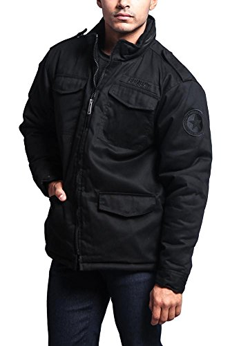 G-Style USA Men's Heavy Twill Padded Military Jacket 8CJ01 - BLACK - 2X-Large