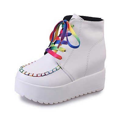 Comfort White Fall Gll Spring Flat PU White Flat Heel Casual Boots amp;xuezi Women's Black Lace up xqSZwZ1t