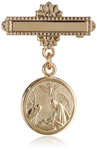 Children's 14k Gold-Filled Christening Pin with Guardian Angel -