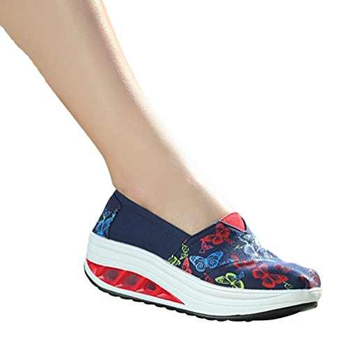 LINNUO Women's Platform Running Printed Sneakers Wedge Heel Trainers Flatform Loafers Driving Walking Canvas Shoes #7printed uLLNAJLy