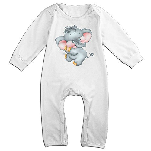 Piggie And Elephant Costumes (Baby Infant Romper Baby Elephant Long Sleeve Jumpsuit Costume White 18 Months)
