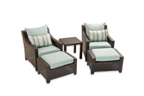 RST Outdoor RST Brands OP-PECLB5-BLS-K Deco 5pc Club Chair & Ottoman Set - Bliss