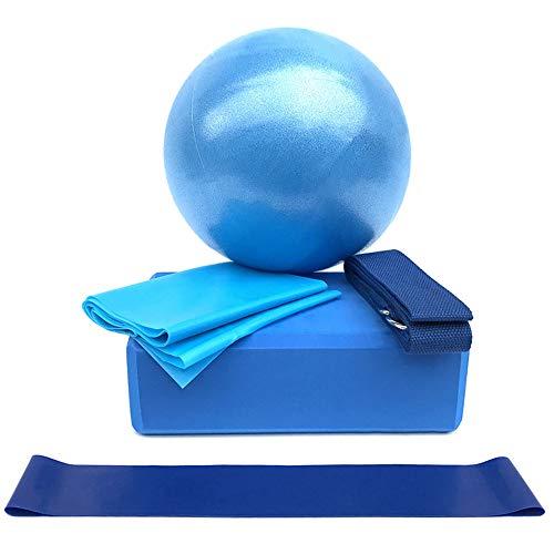 Lixada Yoga Ball Chair 5Pcs Yoga Equipment Set Include Yoga Ball Yoga Blocks Stretching Strap Resistance Loop Band…