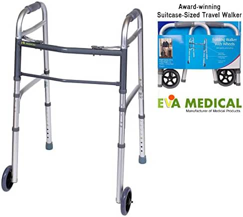 EVA Medical Ultra Compact Lightweight Travel Folding Walker with Wheels - Folds to fit medium/large suitcase