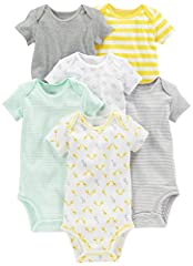 An Amazon Brand - Six short-sleeve bodysuits in baby-soft cotton featuring stripes, prints, and solids