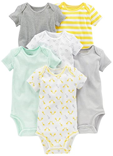 Simple Joys by Carter's Baby 6-Pack Short-Sleeve Bodysuit, Grey/Yellow, 6-9 Months