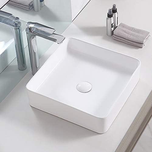 DS- (タップなし)バスルームの洗面台、正方形セラミックカウンター流域家庭バニティ単一流域、3つのサイズの数 洗面ボール && (Size : 37X37X13cm)