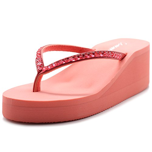 - Ollio Cammie Women Wedge Thong Sandal with Rectangle Stud Straps (7 B(M) US, Pink)