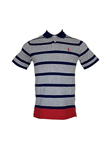 Polo Ralph Lauren Boys Classic Fit Pony Logo Polo Shirt (L/G (14-16), Grey/Navy Stripe/Red Pony)