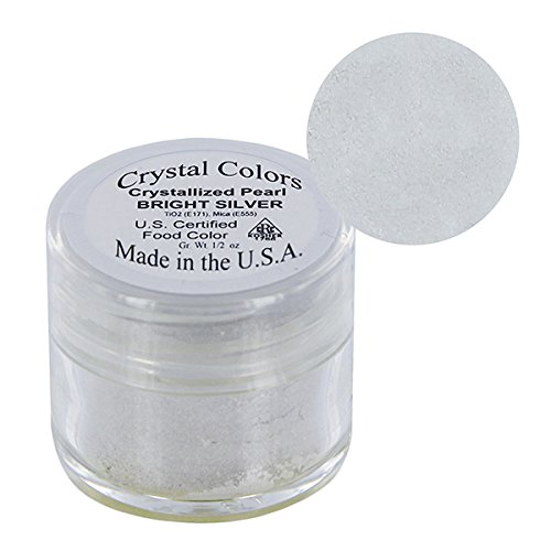 Bright Silver Crystallized Pearl Crystal Color Dust by SUGARPASTE